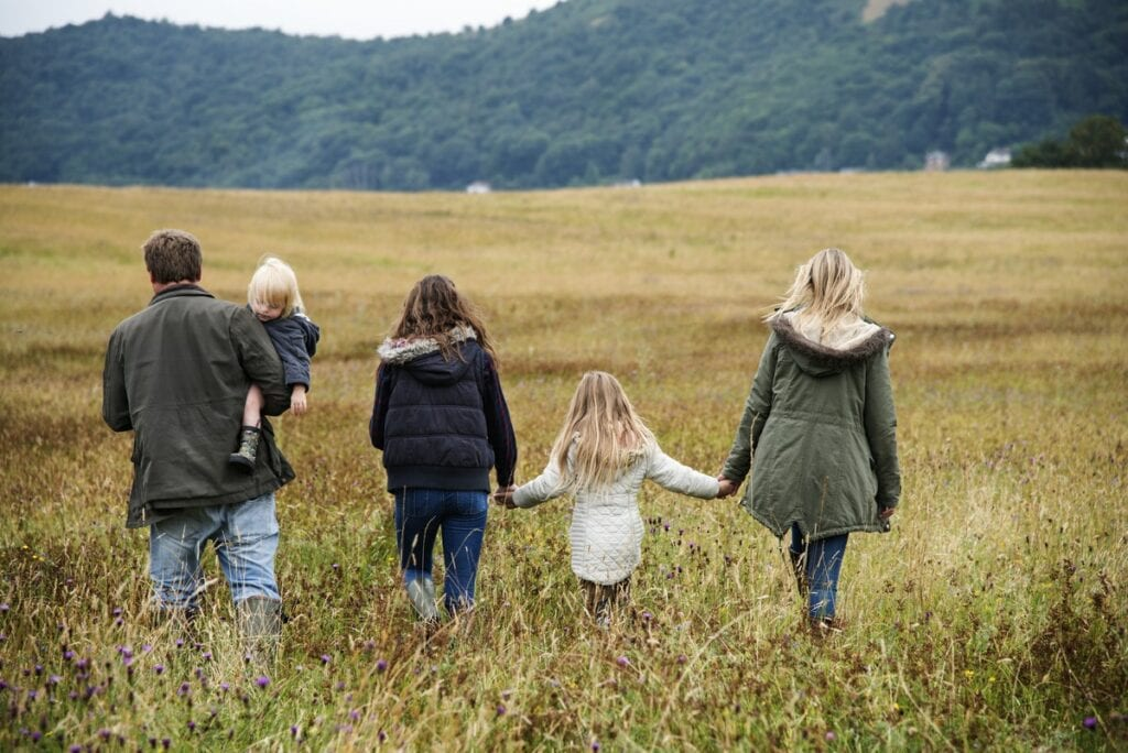 Rear view of family holding hands walking in a field-generational-trauma